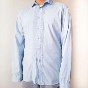 Prada Men's Long Sleeve Pintuck Tailored Shirt